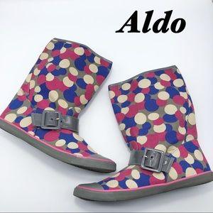 Aldo Gray Pink Blue Polka dot Rain Canvas Boots 10